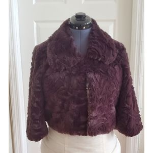 Metaphor Faux Fur Cropped Jacket Brown Size Small